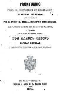 Prontuario para el Regimiento de Caballeria lanceros de Luzon