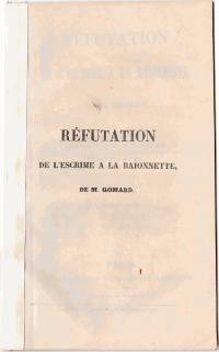 Réfutation de l'escrime à la baionnette de M.Gomard