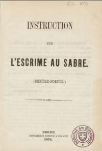 Instruction sur l'escrime au sabre (contre-pointe)
