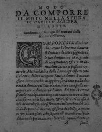 Modo da comporre il moto nella sfera di Camillo Agrippa Milanese conforme al dialogo del trattato della scienza dell arme