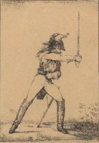 Manejo del sable. Coleccion de cuarenta disenos que representan las diversas posiciones de este exercicio a caballo. Once cuad.