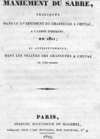 Instruction sur le maniement du sabre à l'Armée d'Espagne en 1811