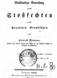 Vollständige Anweisung zum Stoßfechten, nach Kreussler's Grundsätzen