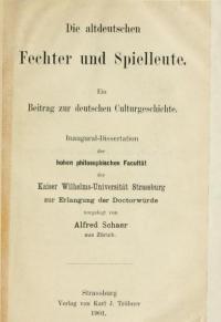 Die altdeutschen Fechter und Spielleute. Ein Beitrag zur deutschen Culturgeschichte