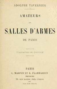 Amateurs et salles d'armes de Paris