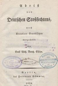 Abriss des deutschen Stoßfechtens, nach den Kreussler'schen Grundsätzen dargestellt