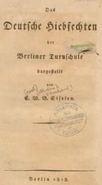 Das deutsche Hiebfechten der Berliner Turnschule