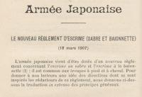 Armée Japonaise - Le nouveau règlement d'escrime(Sabre er baïonnette) du 18 mars 1907