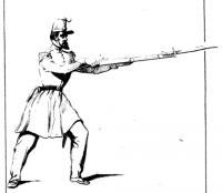 Escrime á la bayonnette, extraite de l'ordonnance du 22 juillet 1845 sur l'exercice et les manoeuvres des bataillons des chasseurs á pied