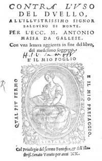 Contra l'uso del duello, con una lettera aggionta in fine del libro, del medesimo soggetto