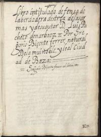 Libro intitulado defensa de la berdadera destreça de las armas y de su autor don Luis Pacheco de Narbaez