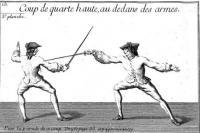 Nouveau traité de la perfection sur la fait des armes, dedié au Roi. Enseignant la maniére de combattre, de l'épée de pointe seule, toutes les gardes étrangeres, l'espadon, les piques, hallebardes, bayonnettes au bout du fusil, fleaux brisés et bâton á deux bouts, tels qu'ils se pratiquent aujourd'hui dans l'art militaire de France. Orné de figures en taille douce