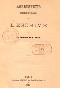 Annotations méthodiques et succinctes sur l'escrime
