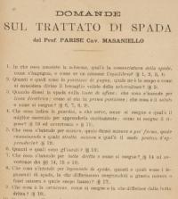 Domande sul Trattato di spada del prof. Parise cav. Masaniello.
