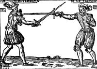 Traicté contenant les secrets du premier livre sur l'espée seule, mère de toutes armes, qui sont espée dague, cappe, targue, bouclier, rondelle, l'espée deux mains & deux espées, avec ses pourtraictures, ayans les armes au poing pour se deffendre & offencer à un mesme temps des coups qu'on peut tirer, tant en assaillant qu'en deffendent, fort utile & profitable pour adextrer la noblesse, & suposts de Mars: redigé par art, ordre & practique. Dedié á la Maiesté du Roy tres chrestien Charles neufiesme.