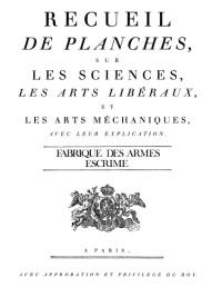L'Encyclopédie - Fabrique des armes Escrime