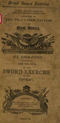 Broad Sword Exercise Six engravings representing the six cuts in the sword exercise of the cavalry; Accompanied with instructions for making them, and for performing the several guards; the mode of exercising in classes, the system of attack and defence: and the words of command. Also directions by which any one may Become a Complete Horseman